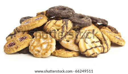 chocolate biscuits variety isolated on a white background - stock photo