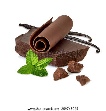 Chocolate block and curl with vanilla beans on white background - stock photo