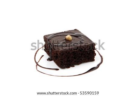 Chocolate block isolated on white - stock photo