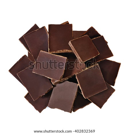 chocolate blocks pile from top on white background - stock photo
