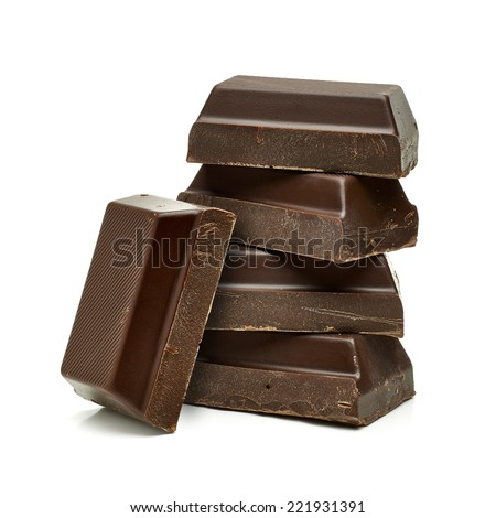 Chocolate blocks stack on white background - stock photo