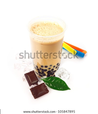 Chocolate Boba Bubble Tea with fruits and crushed ice. - stock photo