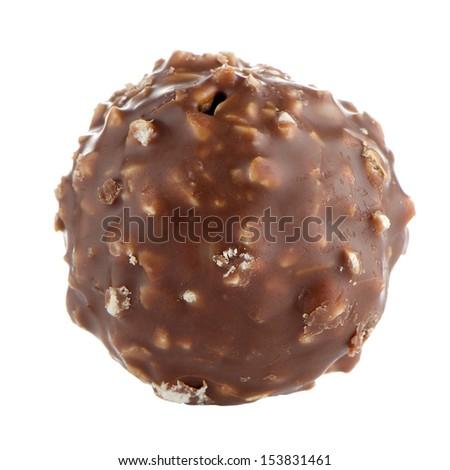 Chocolate bonbon isolated on a white background. - stock photo