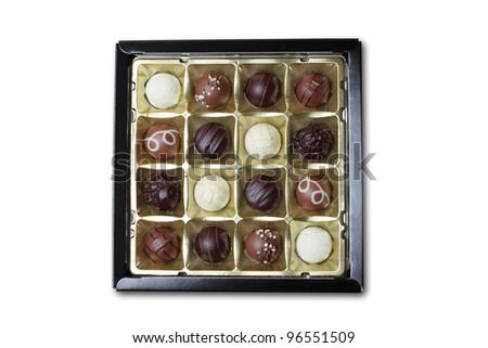 chocolate box isolated on white - stock photo