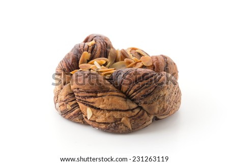 chocolate bread isolated on white background - stock photo