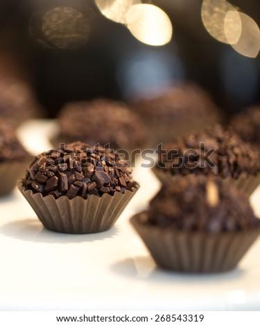 Chocolate Brigadier, Macro Close-Up - stock photo