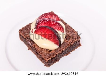 chocolate brownie, cake baking - stock photo