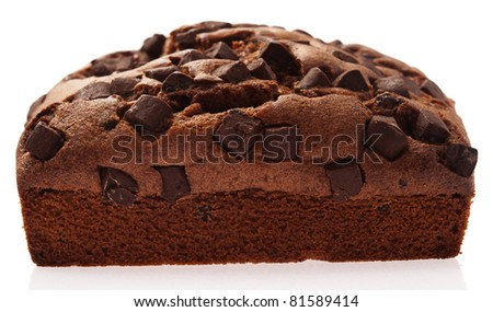 chocolate brownie isolated on a white background - stock photo