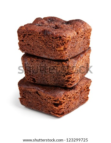 chocolate brownies dessert on white background - stock photo