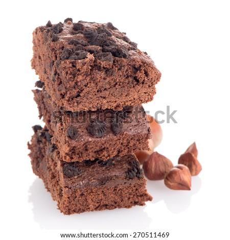 Chocolate brownies dessert on white background - stock photo