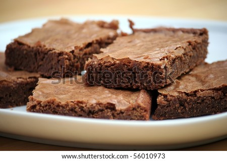 Chocolate Brownies on a White Platter - stock photo