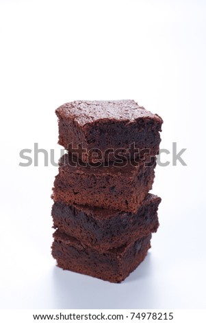 Chocolate brownies on white background - stock photo