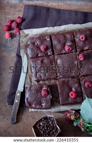 Chocolate brownies with raspberries - stock photo