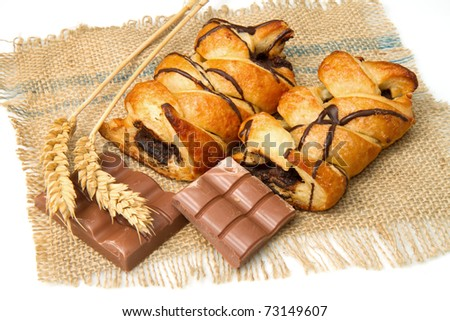 chocolate bun isolated on a white background - stock photo