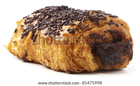 Chocolate Bun Isolated On A White Background