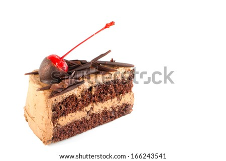 Chocolate cake and cheery on top - stock photo