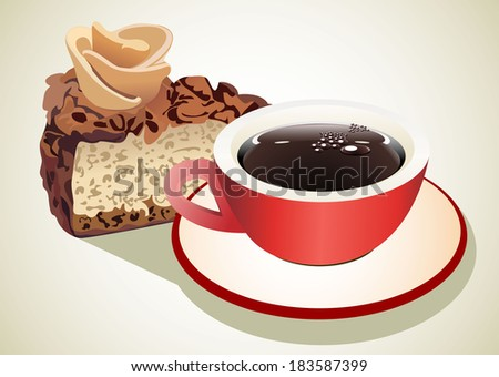 chocolate cake and coffee cup