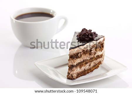 chocolate cake and coffee cup on white background