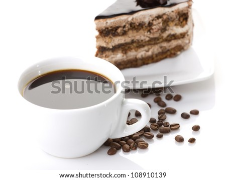 chocolate cake and coffee on white background