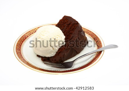 Chocolate Cake and Vanilla Ice Cream Isolation on White