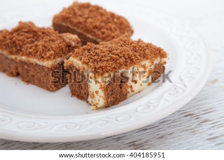 Chocolate cake filled with vanilla pudding - stock photo
