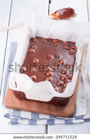 Chocolate cake (fudge) with  hazelnuts - stock photo