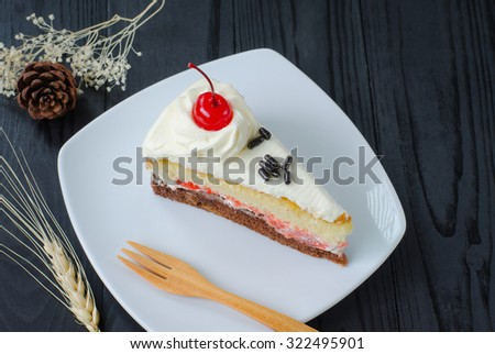chocolate cake in dish on wooden