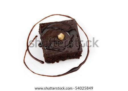 Chocolate cake isolated on white - stock photo