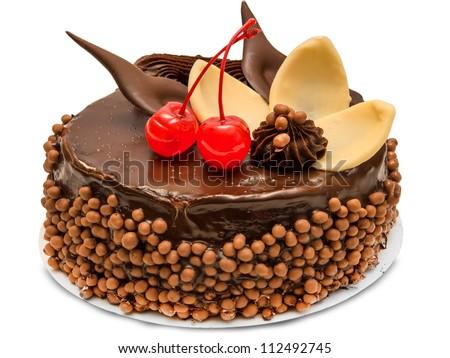 Chocolate cake isolated on white background - stock photo