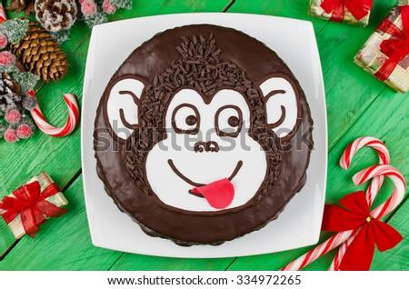 Chocolate cake Monkey. The symbol of the new year - stock photo