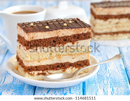 Chocolate cake on a blue table