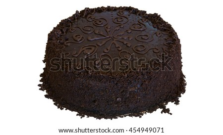 chocolate cake on a white background
