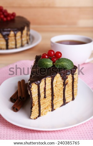 Chocolate cake on table