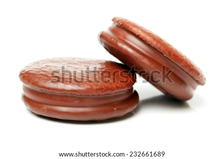 chocolate cake on white background  - stock photo
