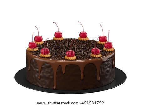 Chocolate cake on white background 3d rendering. - stock photo