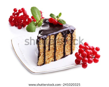 Chocolate cake on white table - stock photo
