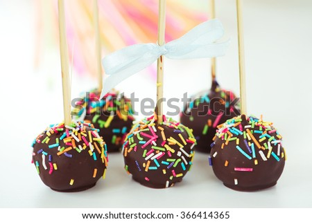 Chocolate cake pops - stock photo