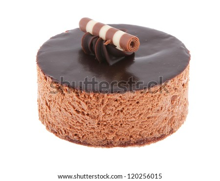 chocolate cake round with waffle cookie on the top isolated on white background - stock photo