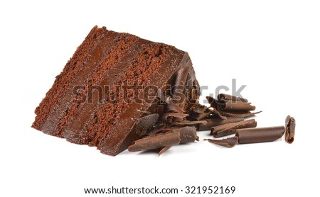 Chocolate cake slice with curl on white background - stock photo