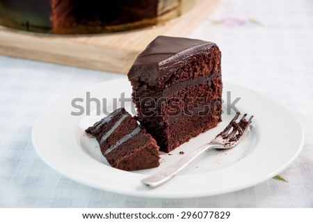 Chocolate Cake sliced for eating