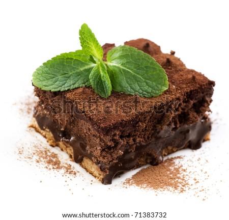 Chocolate Cake truffle over white - stock photo