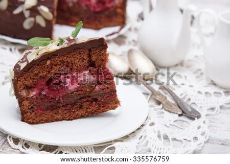 Chocolate cake with cherries and chocolate cream - stock photo