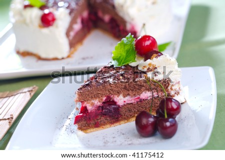 Chocolate cake with cherry filling
