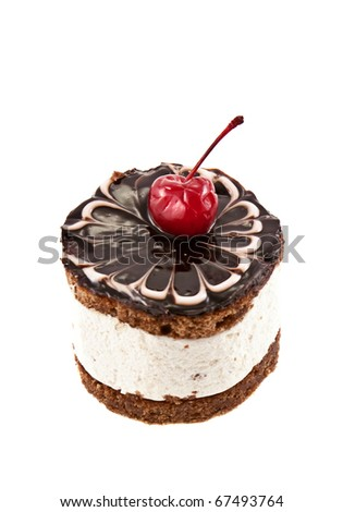 Chocolate cake with cherry isolated on white - stock photo