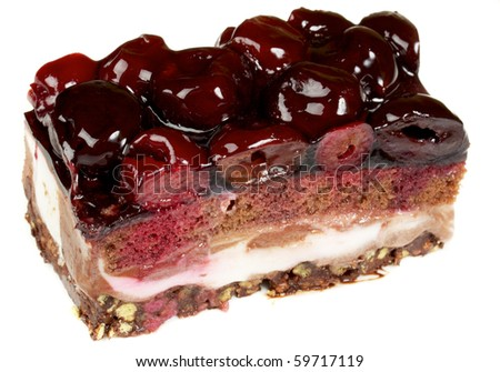 Chocolate Cake with cherry over white - stock photo
