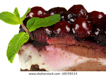 Chocolate Cake with cherry over white isolated