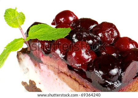 Chocolate Cake with cherry over white isolated - stock photo