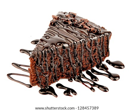 Chocolate cake with chocolate creame isolated on white - stock photo
