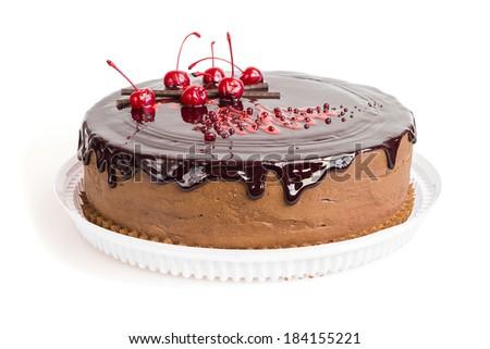 Chocolate cake with chocolate glaze on white background  - stock photo