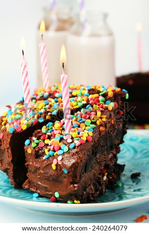 Chocolate cake with chocolate  milk on table close-up - stock photo